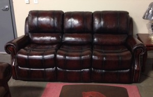 Nailhead top grain leather theatre