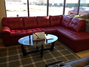 9569 Red Leather Sectional