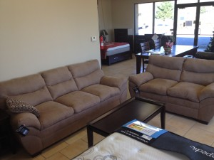 Latte Microfiber Sofa & Love $599