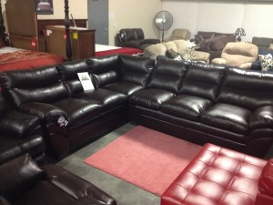 Simmons Chocolate Leather Sectional - $999