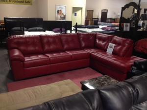 Red Leather Sectional with Chaise