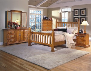 Honey Oak Bedroom Set - $2,799 includes Queen Bed, Dresser, Mirrior, Nightstand & Mirrored Chest of Drawers