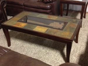 Slate & Glass Coffee Table & (2) End Tables - $499