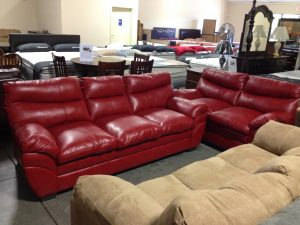 Red Leather Sofa & Chair - $700