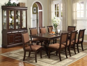 2145 Espresso Formal DR w Hi-Back Padded Chairs